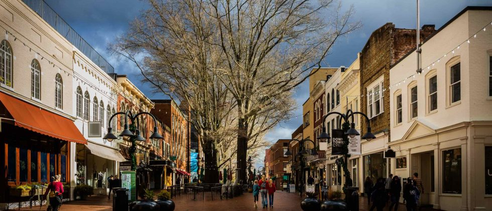 Downtown Charlottesville street with shops