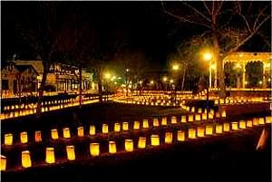 photo of luminaries along pathways at Prospect Hill - Christmas in Virginia