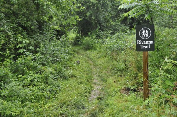 photo of trail sign along America's Best-Disguised Hiking Trail, the Rivanna Trail