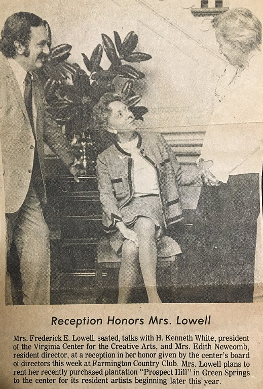 newspaper photo of Rosamund Frost Lowell (Mrs. Frederick E. Lowell) - Virginia Center for the Creative Arts at Prospect Hill