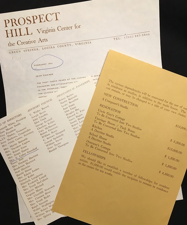 image of fundraising documents for VCCA at Prospect Hill - Virginia Center for the Creative Arts at Prospect Hill