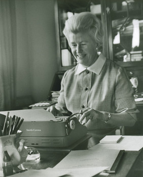 image of Nancy Halebworking at her typewriter - Virginia Center for the Creative Arts at Prospect Hill