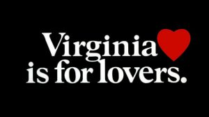 """Graphic of """"Virginia is for Lover's"""" with red heart"""
