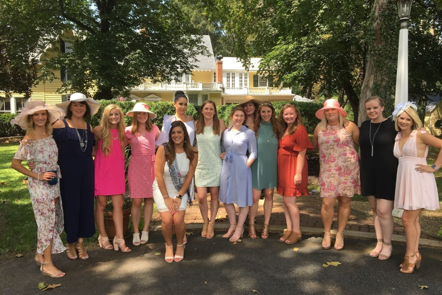 Bachelorette party at Virginia Inn: Girls posing together at Prospect Hill