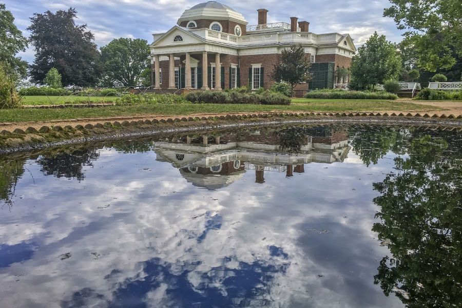 Monticello with water reflection in foreground