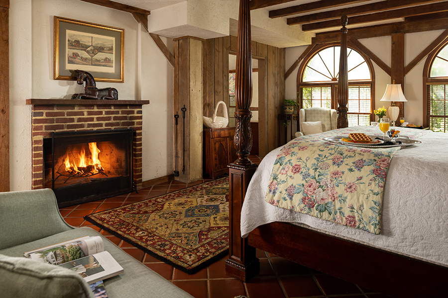 Cozy room with a fireplace at our Charlottesville B&B