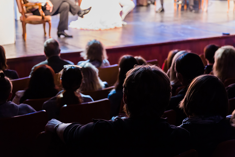 Crowd watching a play