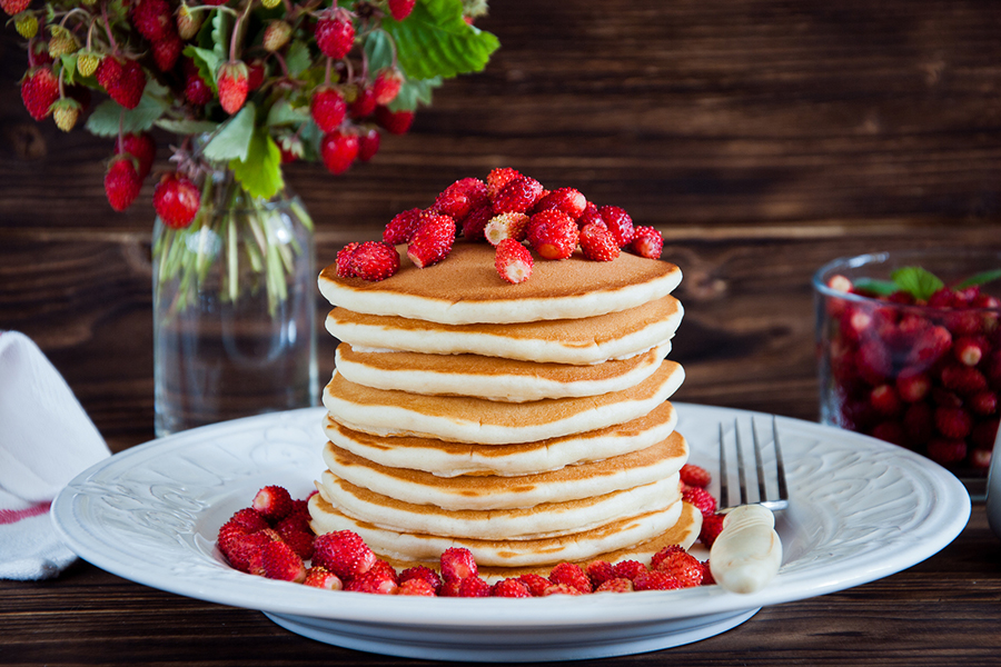 Stack of fluffy whole wheat pancakes