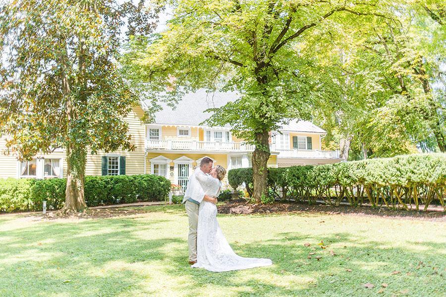 Couple Kissing During Romantic Virginia Elopement