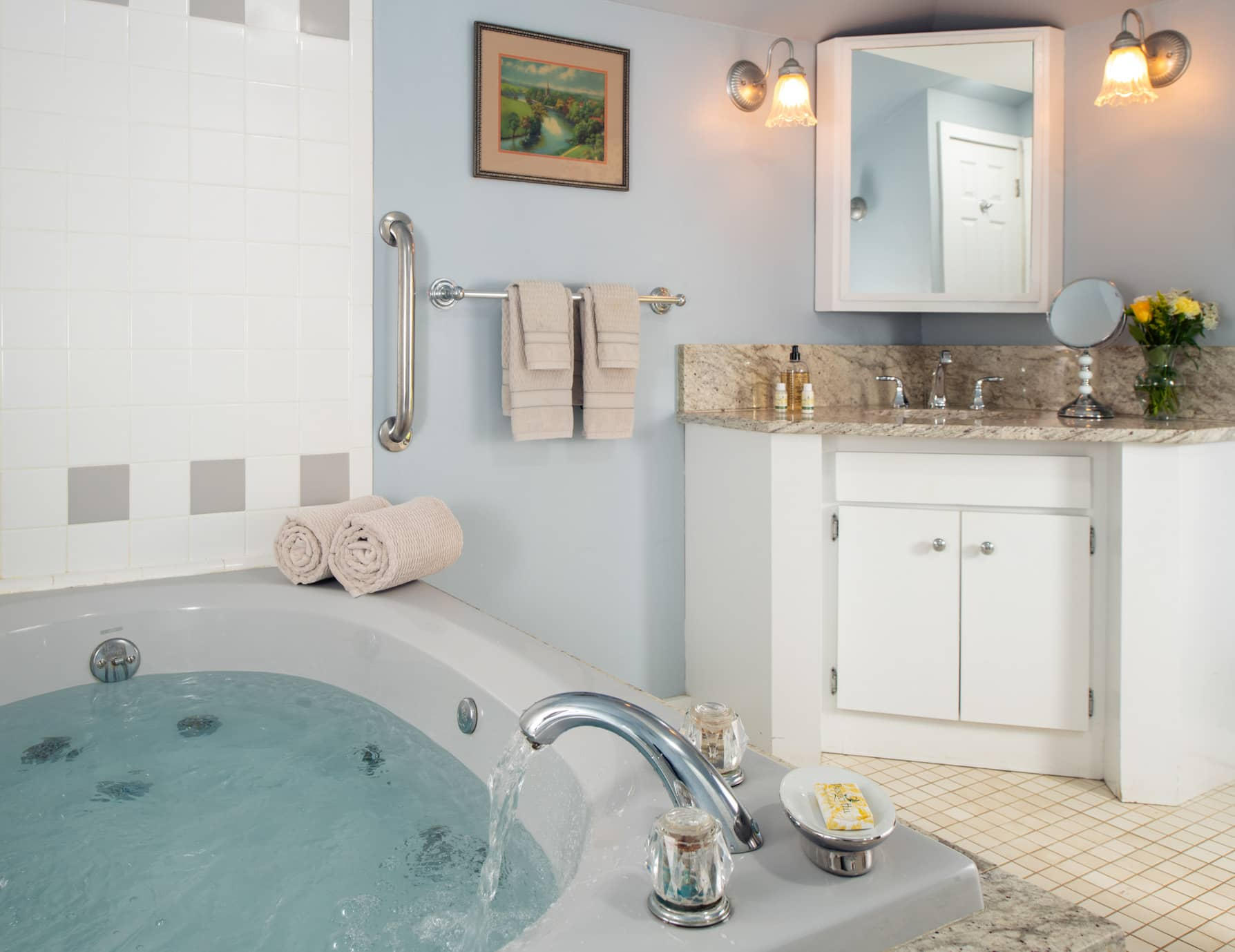 Large jetted tub in a bathroom