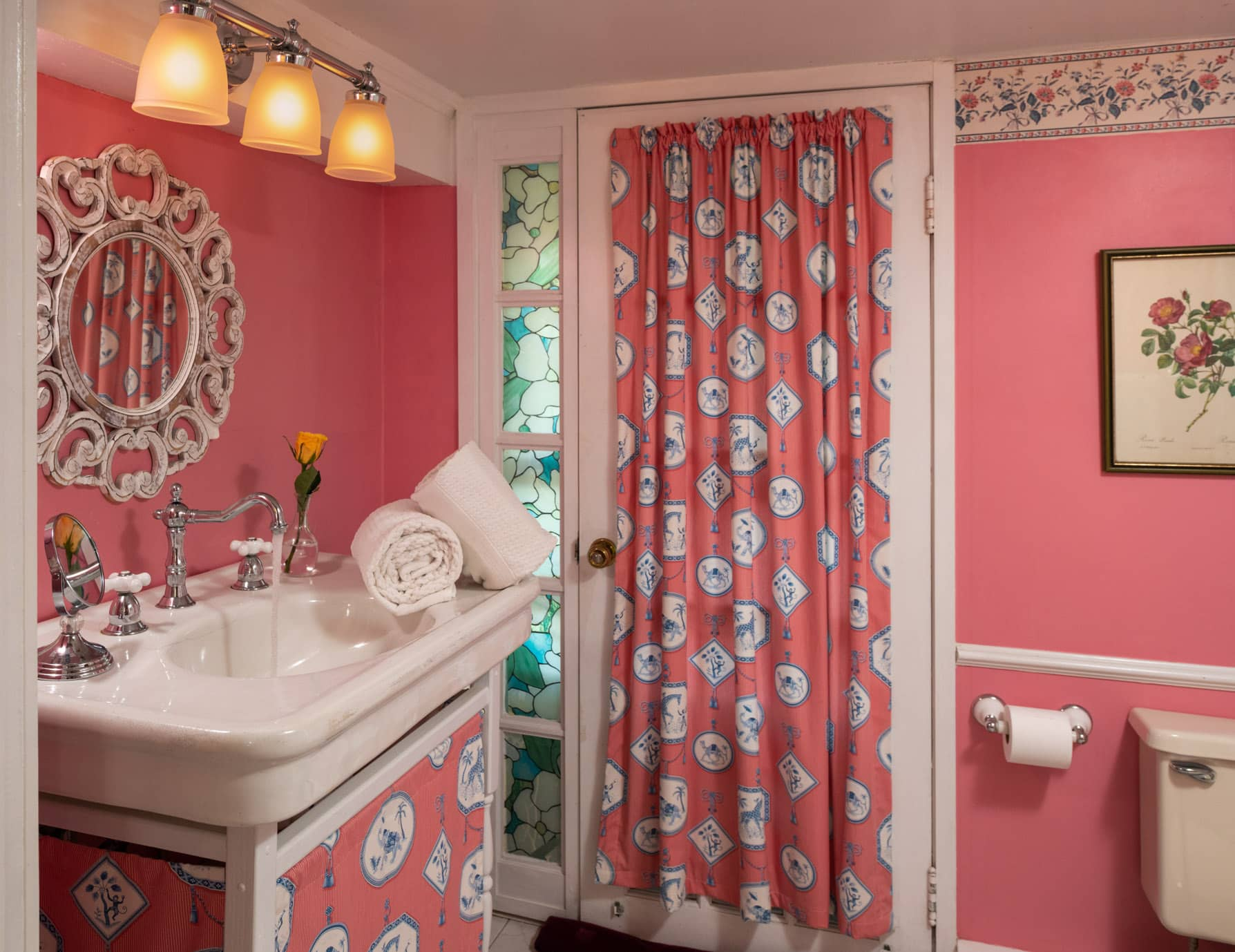 Overton bathroom sink with pink walls