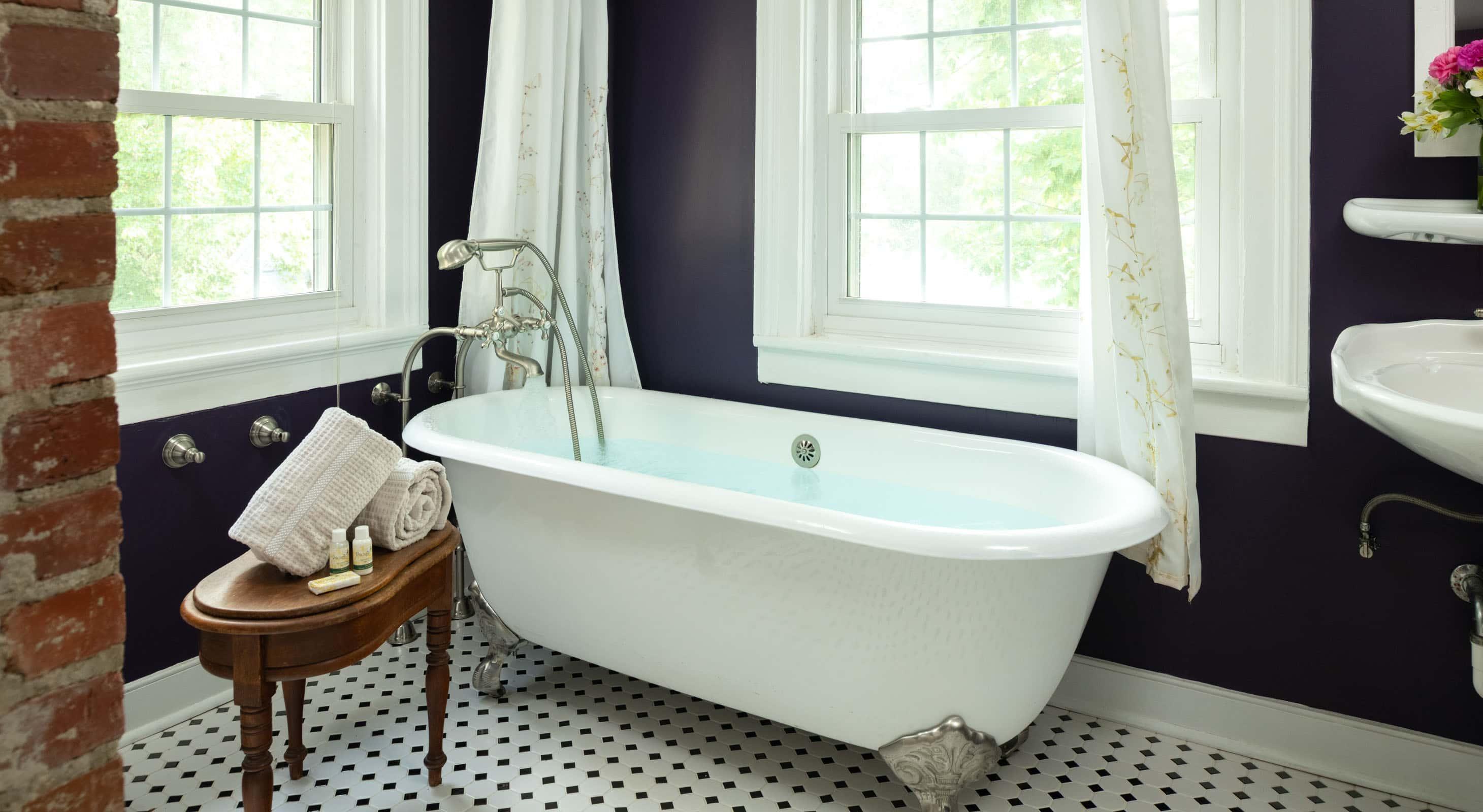 Clawfoot tub in a bathroom with garden views