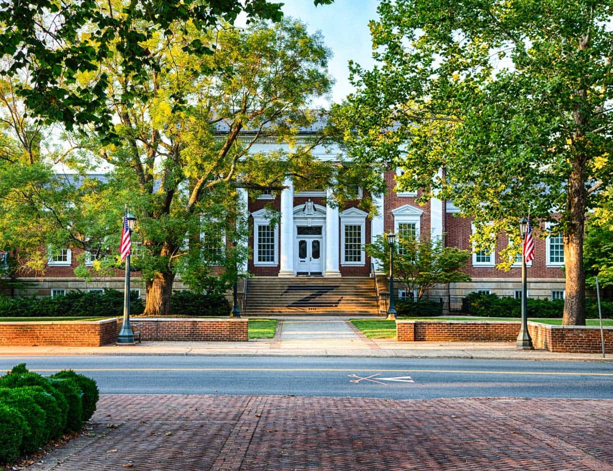 University of Virginia red brick building with white columns