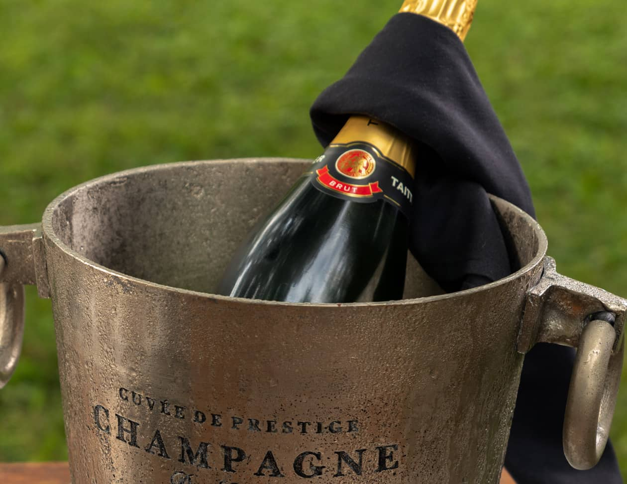Bottle of sparkling wine in a ice bucket