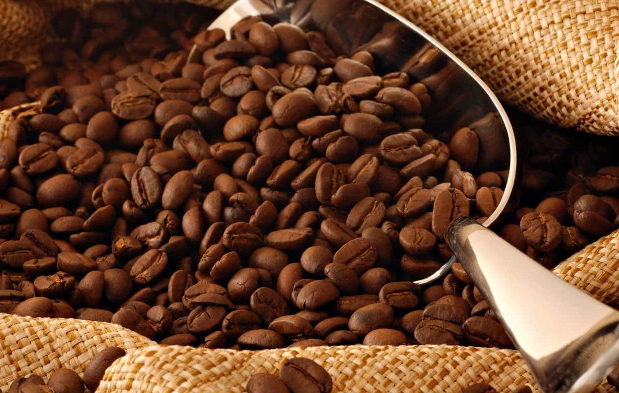Fresh roasted coffee in a burlap bag