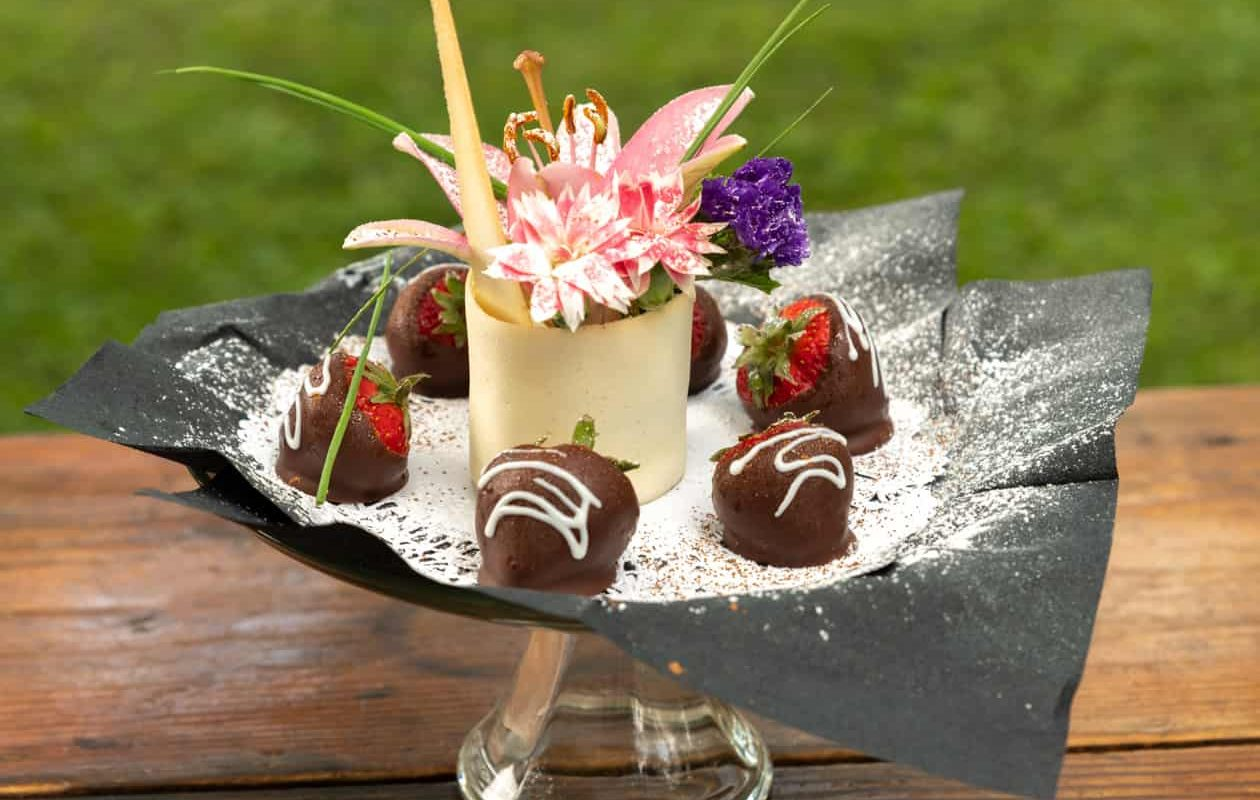 Chocolate dipped strawberries on a plate