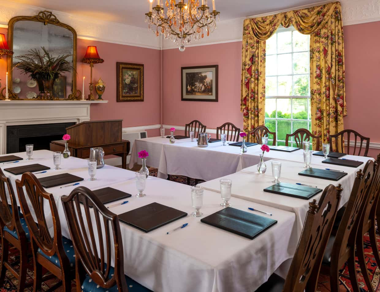 A U-shaped table arrangement for a business meeting at Prospect Hill Inn
