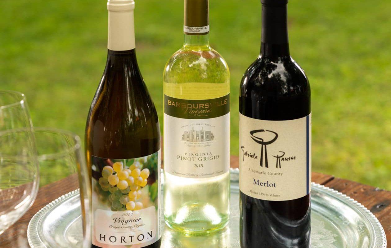 Three bottles of Virginia Wine
