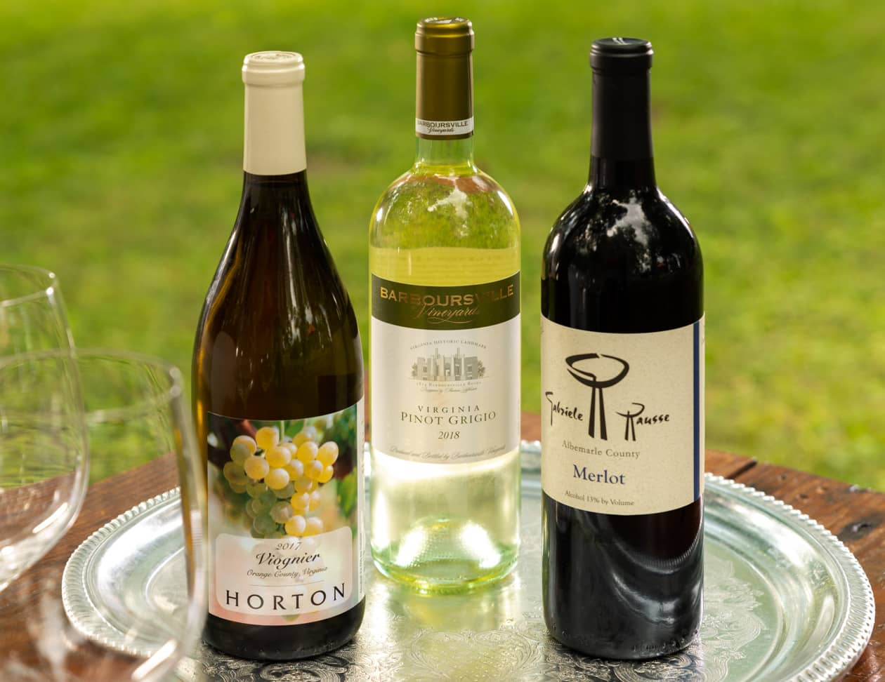 Three bottles of Virginia Wine