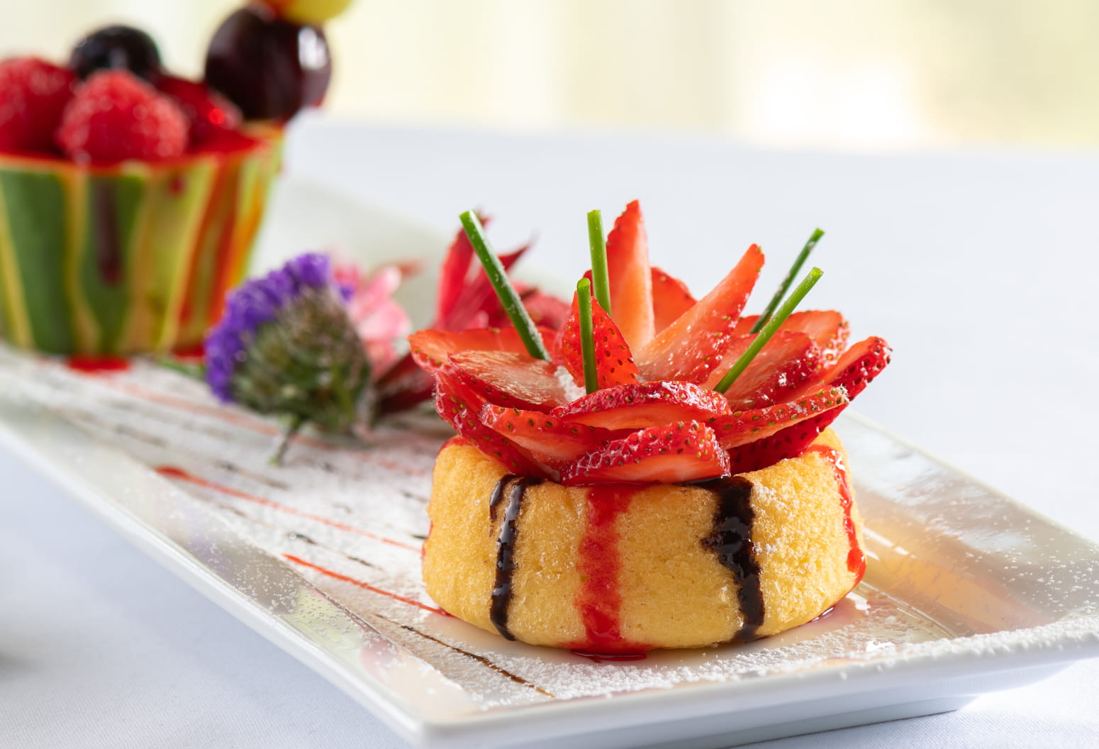 Breakfast pastry with strawberries and fresh fruit