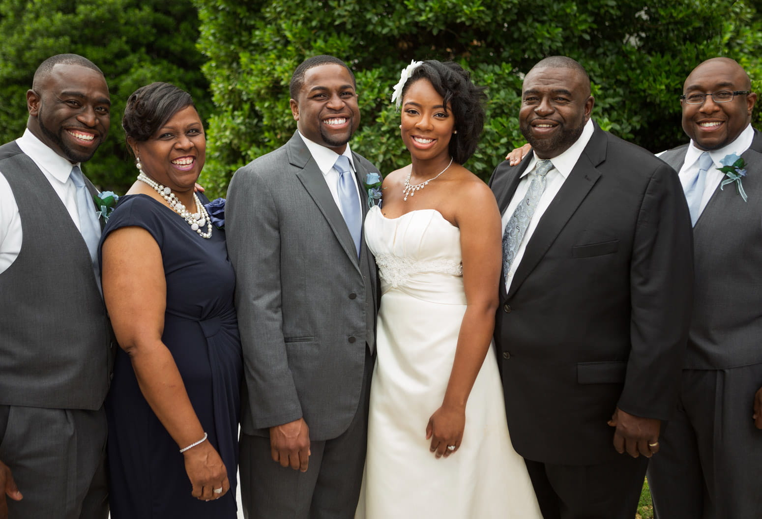 African American family with bride and groom