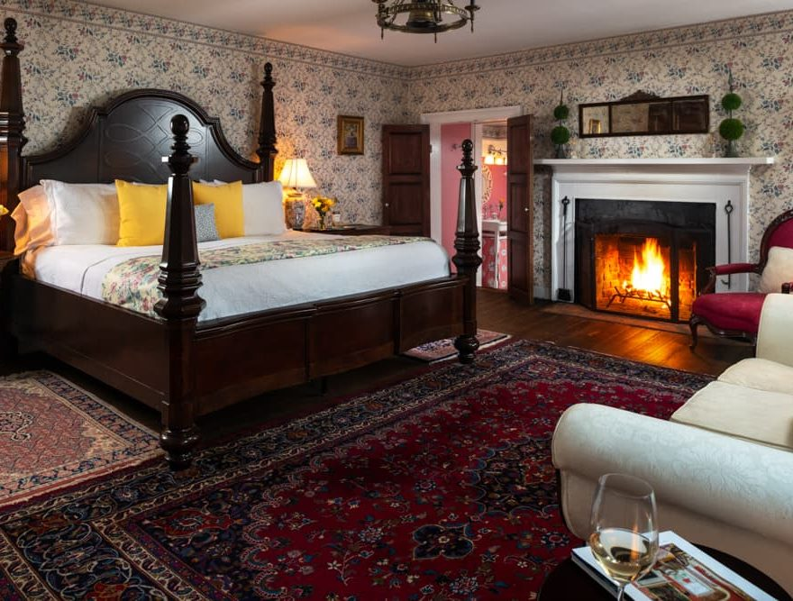 bed and fireplace in the Overton Room