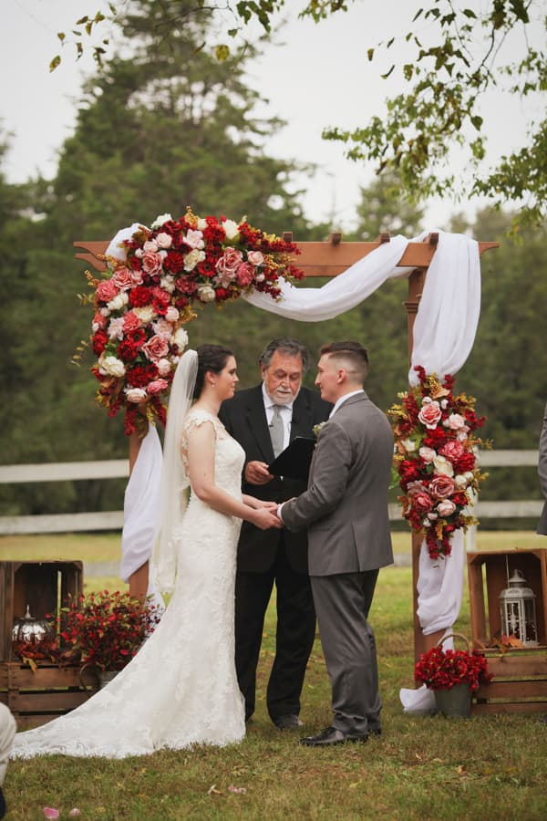 Wedding ceremony with bride, groom and officiant