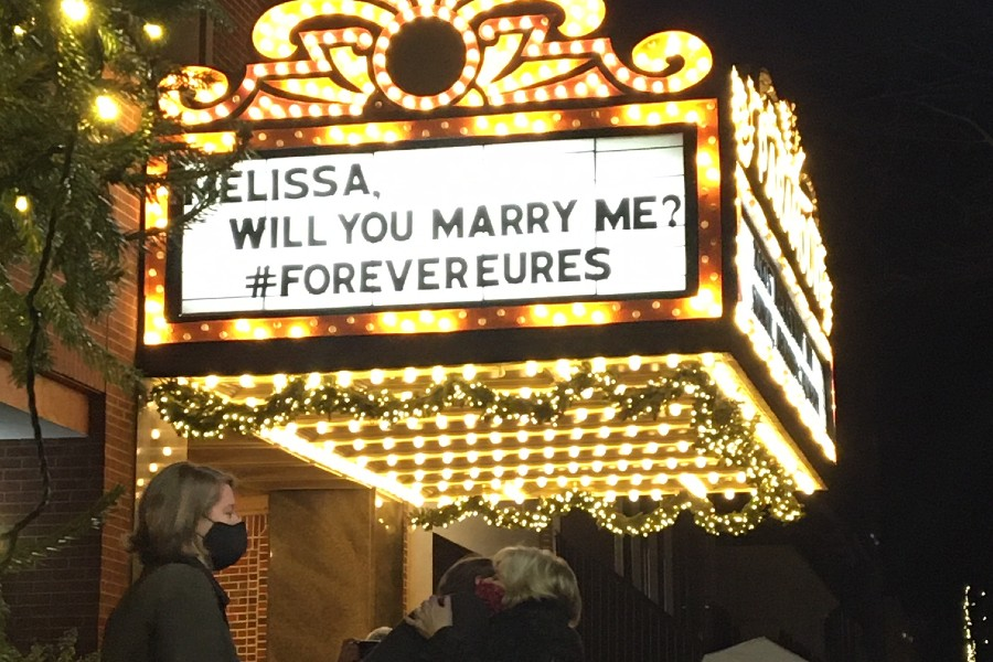 Theatre marquee with proposal message